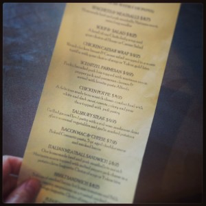 Lunch Menu for Napa Grille & Wine Den, Cambridge ON