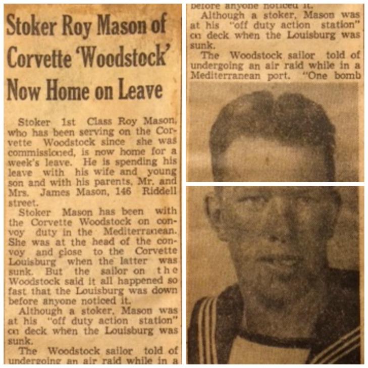 Roy Mason, Stoker, HMCS Woodstock